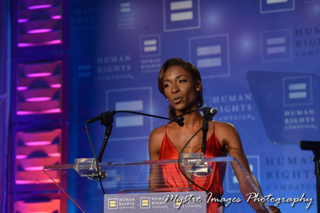 Angelica Ross Accepts Visibility Award from HRC
